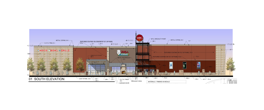 Picture shows an elevation rendering of the proposed Movie Bowl Grille in Sherman, Texas